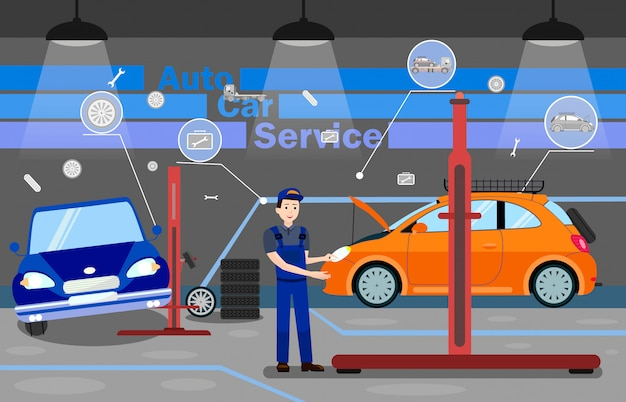 Modèle de bannière de promotion des options de service de voiture automatique