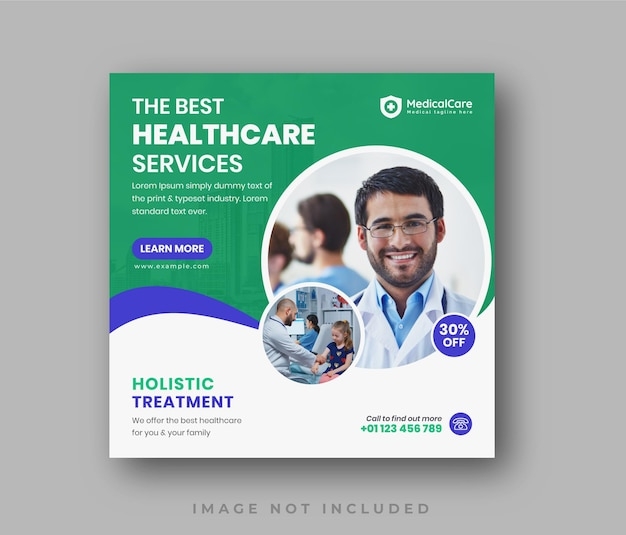 Modèle de bannière de promotion web pour publication sur les médias sociaux de dépliant sur les soins de santé médicaux propres