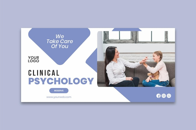 Modèle de bannière de psychologie clinique