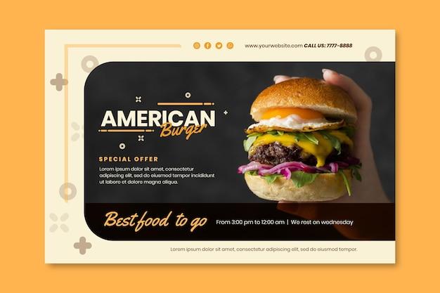 Modèle de bannière de pub de cuisine américaine