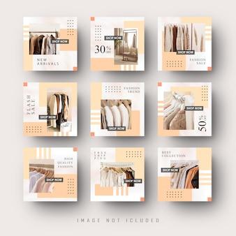 Modèle de bannière de publication de flux instagram de médias sociaux vintage minimaliste