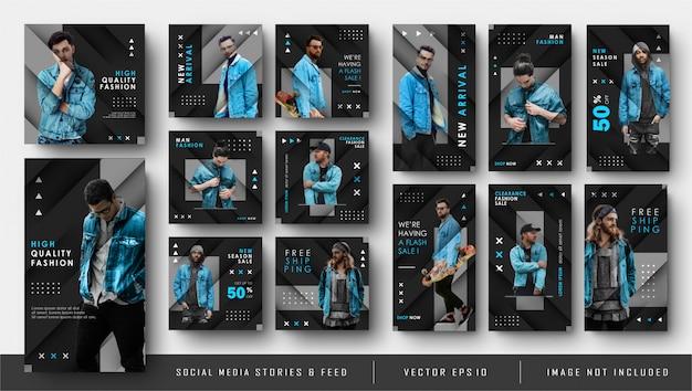 Modèle de bannière de publication et d'histoires de flux instagram de médias sociaux noir bleu