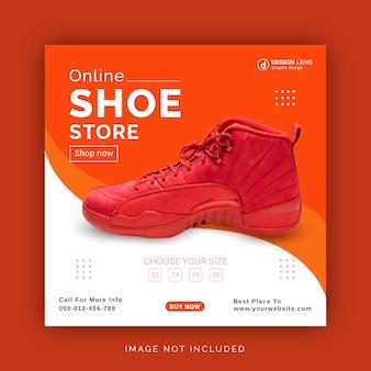 Modèle de bannière de publication instagram pour les médias sociaux de magasin de chaussures en ligne