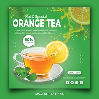 Modèle de bannière de publication instagram pour la promotion du thé sur les médias sociaux pour le menu des boissons du restaurant