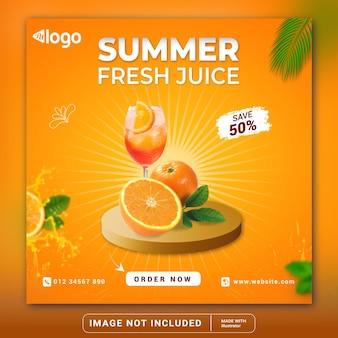 Modèle de bannière de publication instagram de promotion de menu de boisson de jus dorange frais dété