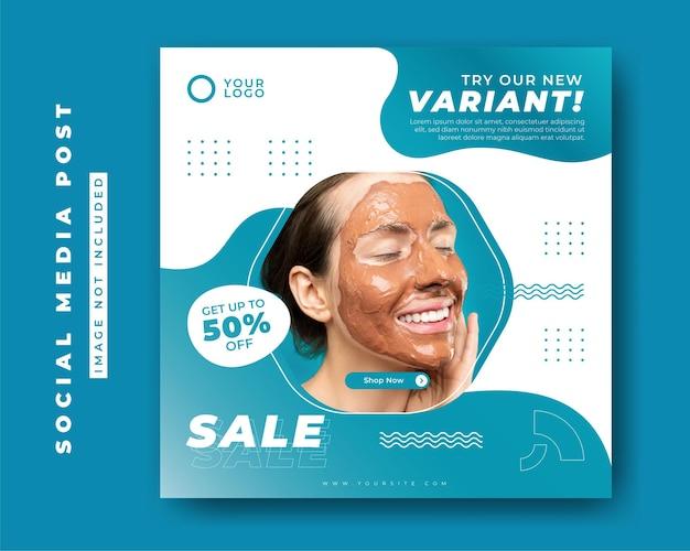 Modèle de bannière de publication de médias sociaux de centre de beauté et de spa