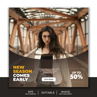 Modèle de bannière de publication de médias sociaux, conception de mode dynamique moderne simple