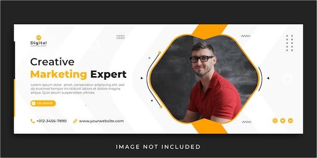 Modèle de bannière de publication de médias sociaux de couverture facebook expert en marketing créatif