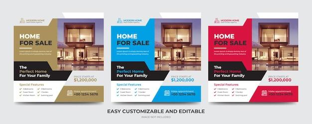 Modèle de bannière de publication de médias sociaux et de flyer carré pour les entreprises immobilières