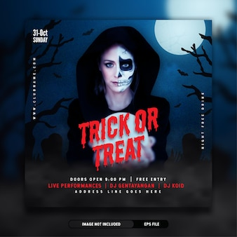 Modèle de bannière de publication de médias sociaux d'invitation à la fête d'halloween