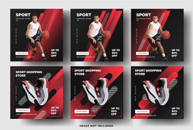 Modèle de bannière de publication sur les médias sociaux. magasin de sport
