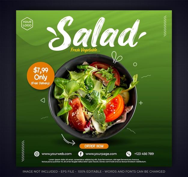 Modèle de bannière de publication sur les médias sociaux de promotion de la salade