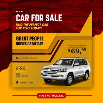 Modèle de bannière de publication de médias sociaux de promotion de vente de voitures