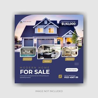 Modèle de bannière de publication de médias sociaux de vente immobilière à domicile vecteur premium