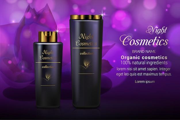 Modèle de bannière publicitaire de cosmétiques réalistes de nuit