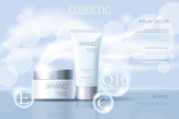 Modèle de bannière publicitaire délicate cosmétique réaliste 3d détaillée