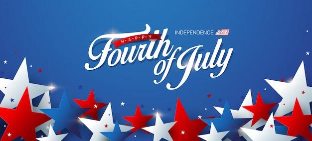 Modèle de bannière publicitaire de la fête de l'indépendance des états-unis.