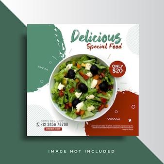 Modèle de bannière publicitaire pour le menu des aliments sains sur les médias sociaux
