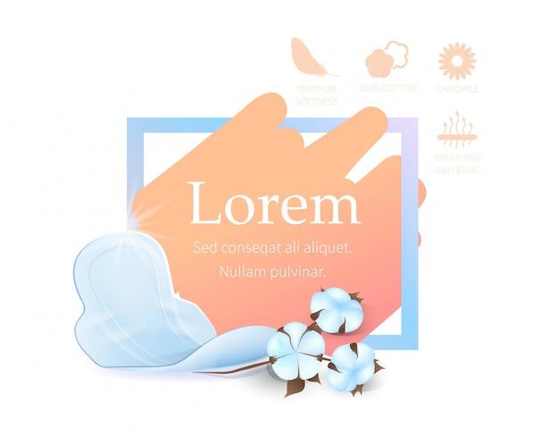 Modèle de bannière publicitaire pour les serviettes hygiéniques promotionnelles