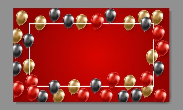 Modèle de bannière publicitaire vendredi noir avec des ballons