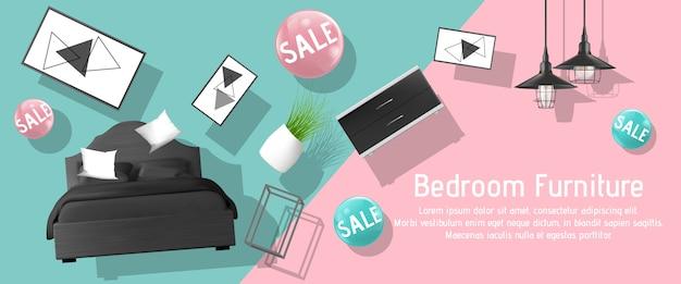 Modèle de bannière publicitaire de vente de meubles de chambre à coucher