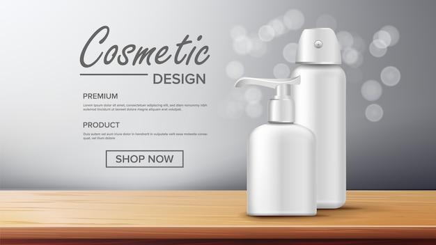 Modèle de bannière de publicité de bouteille cosmétique