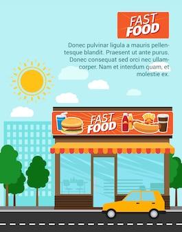 Modèle de bannière de publicité fast food shop