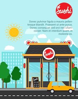 Modèle de bannière de publicité sushi avec la construction de magasins