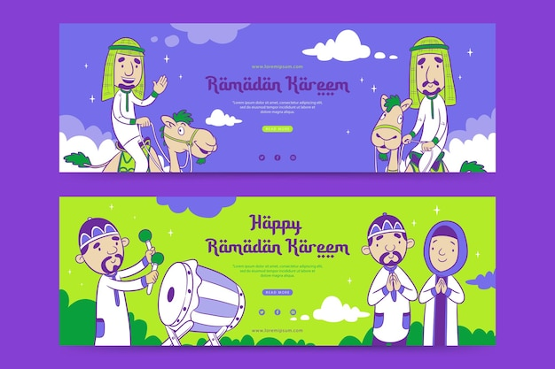 Modèle de bannière de ramadan avec le dessin animé musulman mignon