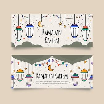 Modèle de bannière de ramadan dessiné à la main