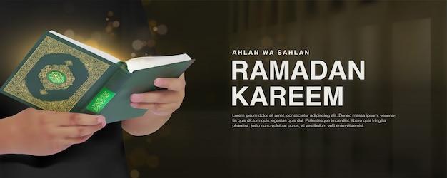 Modèle de bannière ramadan kareem avec un homme réaliste 3d lisant la conception du coran.
