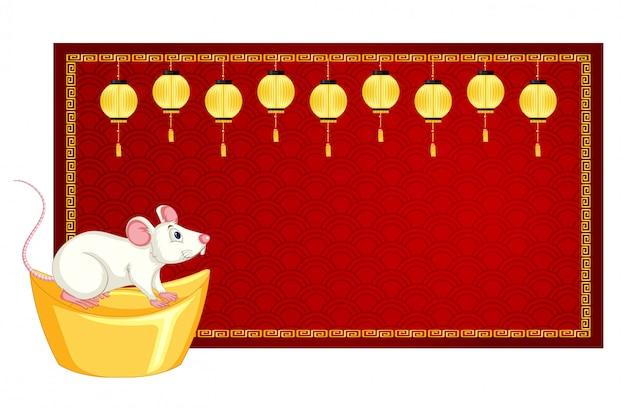 Modèle de bannière avec rat sur or