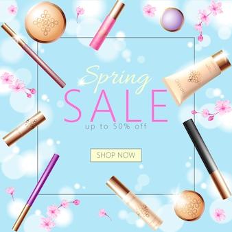 Modèle de bannière réaliste vente printemps cosmétique 3d, affiche promotionnelle carrée