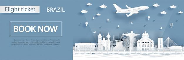 Modèle de bannière de réservation de billet d'avion vers le brésil