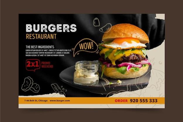 Modèle de bannière de restaurant burgers