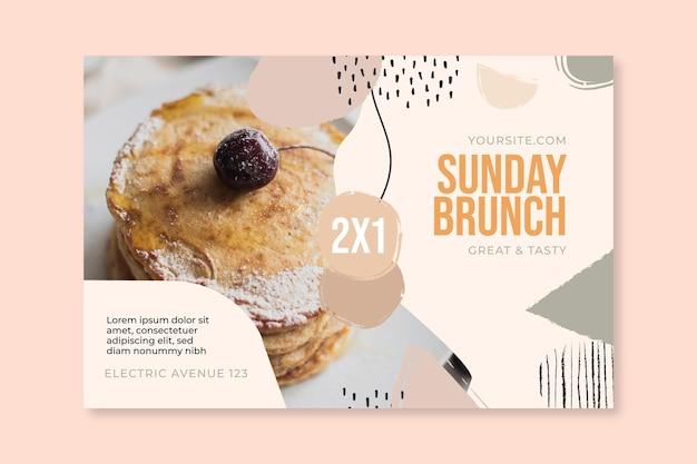Modèle de bannière de restaurant de nourriture de brunch du dimanche