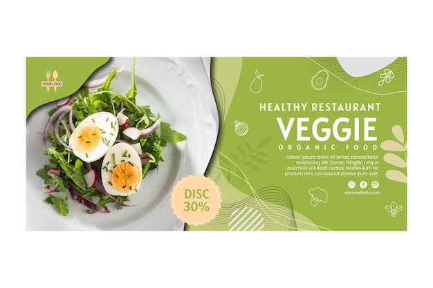 Modèle de bannière de restaurant végétarien