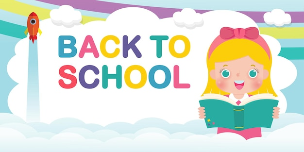Modèle de bannière de retour à l'école enfants lisant le concept d'éducation de livre pour la brochure publicitaire