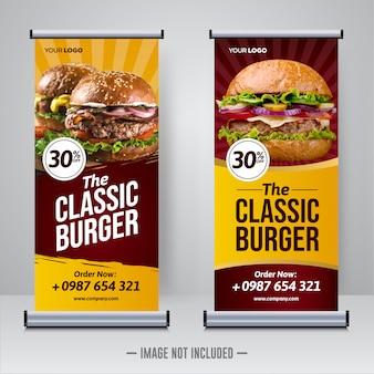 Modèle de bannière roll up restaurant alimentaire