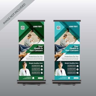 Modèle de bannière de roll up de santé médicale