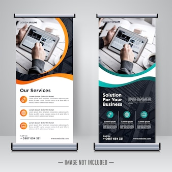 Modèle De Bannière De Rollup D'entreprise Vecteur Premium