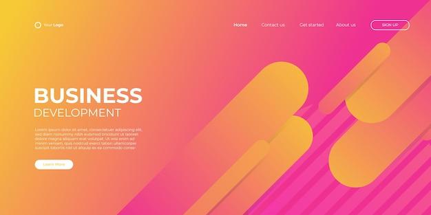 Modèle de bannière rose orange de page de destination. illustration 3d abstrait, concept d'interface de technologie d'entreprise. conception de mise en page vectorielle.