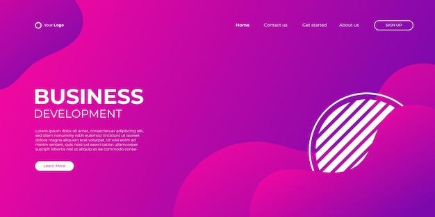 Modèle de bannière rose rouge violet de page de destination. illustration 3d abstrait, concept d'interface de technologie d'entreprise. conception de mise en page vectorielle.
