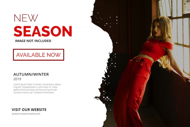Modèle de bannière rouge new season