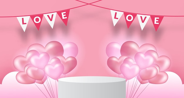 Modèle de bannière de la saint-valentin avec affichage de produit podium sur socle de scène avec ballon en forme de coeur réaliste 3d fond pastel rose tendre