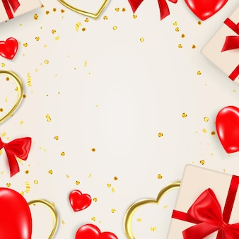 Modèle de bannière de la saint-valentin avec des éléments décoratifs