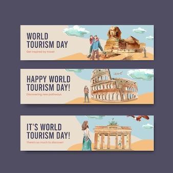 Modèle de bannière sertie de la journée mondiale du tourisme dans un style aquarelle