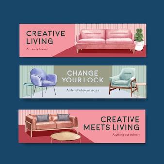 Modèle de bannière sertie de meubles de luxe dans un style aquarelle