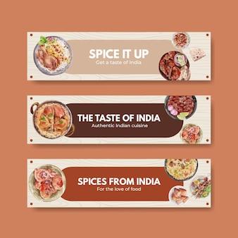 Modèle de bannière sertie de nourriture indienne