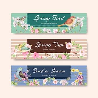 Modèle de bannière sertie d'oiseaux et concept de printemps